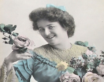 1900s French postcard, Lady in blue dress, RPPC real photo postcard.