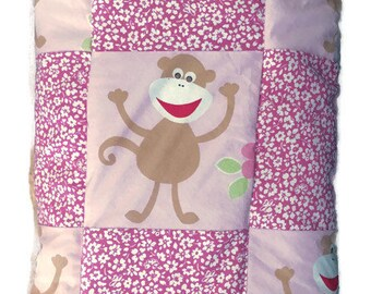Pink Baby Quilt with Monkeys   Baby Shower Gift   Baby Girl Blanket   Modern Baby Quilt   Baby Gift   Crib Quilt   Baby Girl Quilt