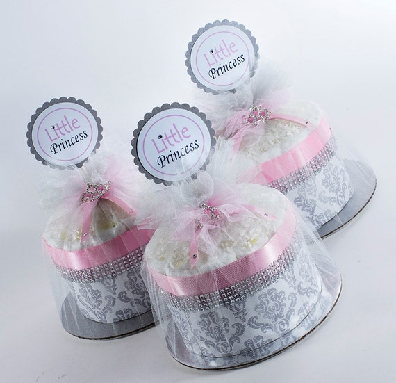 Little Princess Diaper Cake - Mini Diaper Cake Set - Little Princess Baby Shower - Pink and Silver Damask - Baby Shower Centerpiece