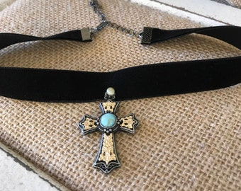 "5/8"" Black velvet choker with cross pendant.  Handmade and sewn on pendant with bead detail."