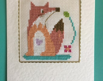 Cross Stitched Greetings Card
