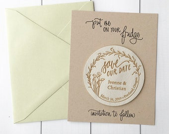 Faux Leather Save the Date Magnets - Lilies save the dates - rustic wedding save the date invitations