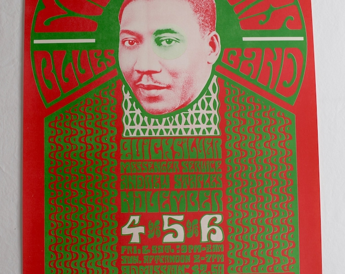 Vintage 1966 BG 035 Muddy Waters Blues Band Wes Wilson Psychedelic Poster RP2 - Edition Bill Graham