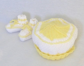 Baby Hat and Booties Set, Knitted in Yellow and White, 3 - 6 Months
