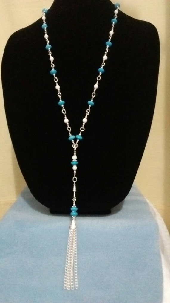 Turquoise Detachable Tassel Lanyard, Turquoise Lanyard, Turquoise Badge Holder, Blue Beaded Lanyard, Blue Badge Holder, L615174