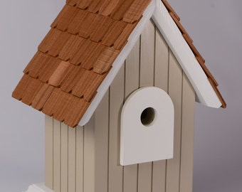 Hand crafted, solid wood birdhouse with cedar shingles - Cape Cod Grey