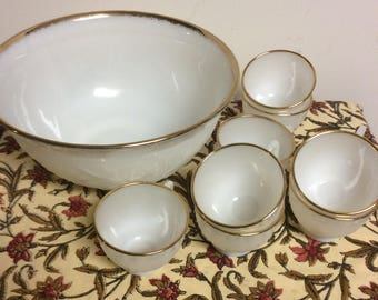 VIntage Milk Glass Punch Bowl Set with 24Kt Gold Trim - Etched Flower Design and 8 Matching Cups Wedding Decor  Housewarming Gift