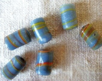 Set of 6 large light blue glass beads