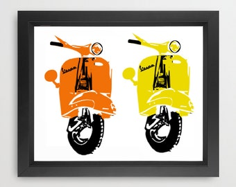 Vespa Scooter Print - Fine art print, Modern decor scooter, bike print, Vespa art, Yellow Vespa, Red Vespa