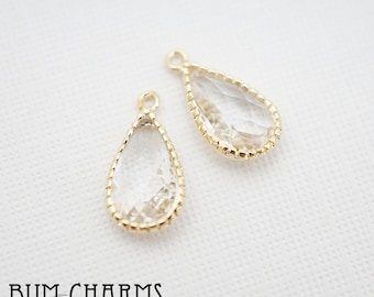 F0022 - Framed Stone, Glossy Gold Plated, Simple Lace Skinny Teardrop Crystal Clear Transparent Glass Pendant, 2 Pieces