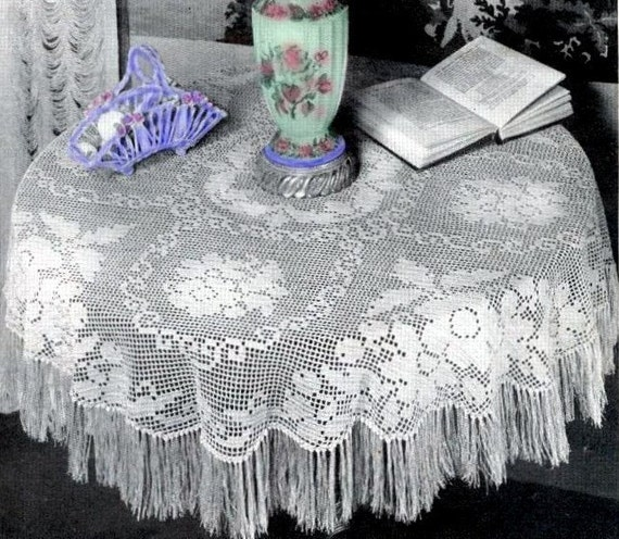 Vintage FRINGE Lace TABLECLOTH Crochet Pattern ... Victorian Round Pattern  ... Instant Download.PDF ...Downton Abbey Era J479 From PatternBabe On Etsy  ...