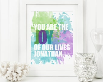 Watercolour Nursery Art - Watercolour Baby Art - Personalized Nursery Decor - Custom Baby Art - Personal Baby Gift - Joy of our Lives