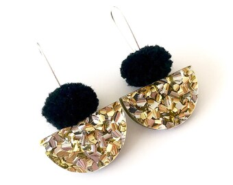 Pom Scallop Drop - Black Pom Pom and Gold Lush Glitter - Laser Cut Acrylic Drop Earring - Each To Own