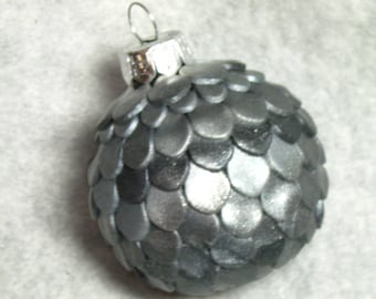 Black Gray Silver Dragon Mermaid Scale Egg Ornament Glass Polymer Clay Free US Shipping
