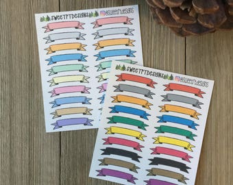 Blank Banner Header Planner Stickers