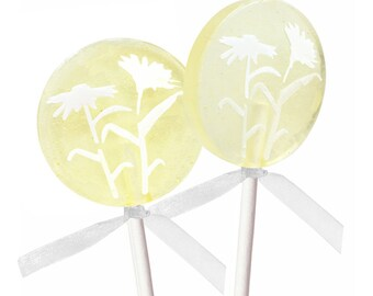 Wedding Favors, Party Favors, Bridal Shower Favors - Ginger Lime Wildflower - 8 Lollipops with Ribbon