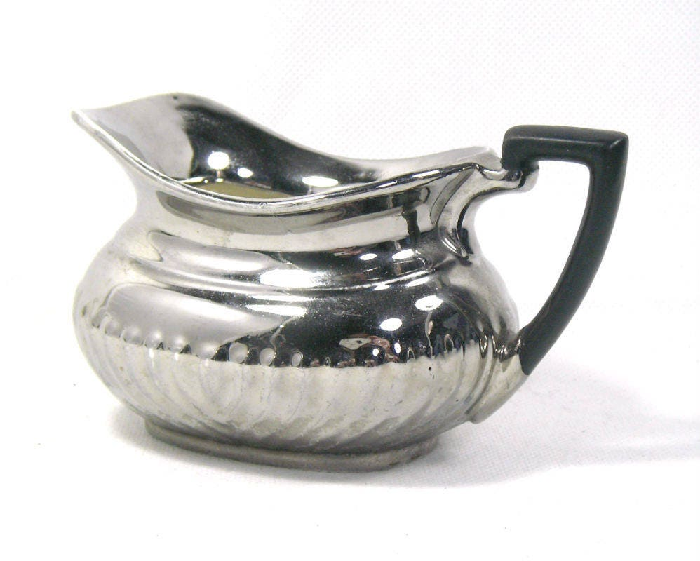 Vintage Silver Ceramic Milk Jug by Devon Ware Ceramic Silver