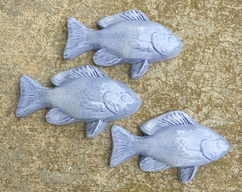 Superb Ceramic Fish Tiles    Set Of 3 Medium Fish In Country Blue Glaze, Swimming Amazing Design