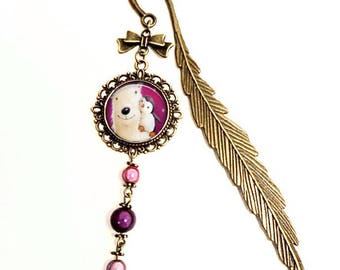 """Bookmarks """"Sweetness in the North Pole"""". Polar bear; Penguin. glass Cabochon. purple. Child woman gift"""