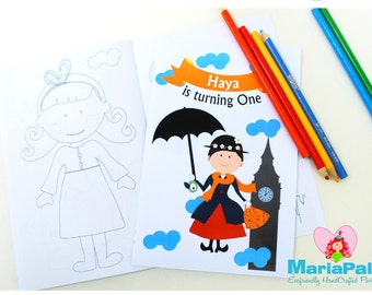 Mary Poppins Coloring Books, 6 Handmade Coloring Books, Mary Poppins Birthday, Personalized Coloring Books, Party Favors  A1018