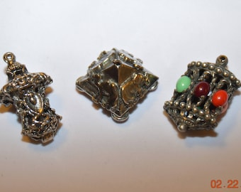SALE 3 Etruscan Fob Charms ,Ornate Lanterns,Round Filigree Ball ,Pyramid Camels,Elephants,Large Chunky Bold