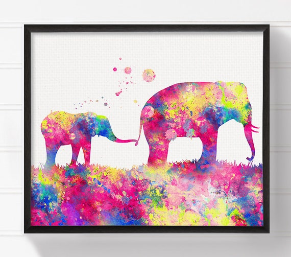 Mom and Baby Elephant Elephant Art Print Watercolor