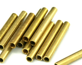 10 Pcs Raw Brass Tube 35 x 5 mm (hole M4 Thread ) industrial brass Charms,Pendant,Findings spacer bead