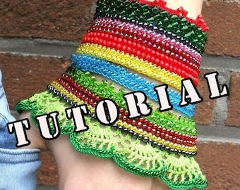 Pattern, tutorial, Circaea Lutetia, crochet beaded cuff bracelet