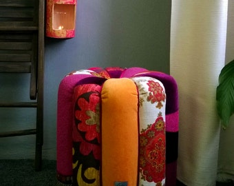 """SOLD! Bright Patchwork Pouf """"Curry"""" from upcycled cardboard tubes"""