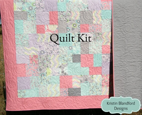 Throw quilt kit diy sewing project layer cake pattern pastel throw quilt kit diy sewing project layer cake pattern pastel throw blanket quilt to make yourself true luck stephanie ryan pink grey gray from solutioingenieria Images