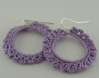 Large Hand Crocheted Earrings
