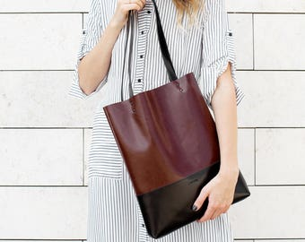Chestnut Brown Black Leather Tote bag No.Tl- 13002