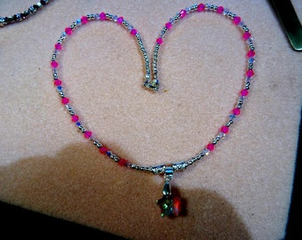 Stormee Originals swarovski hot pink crystal beads and crystal ab beads w/earrings