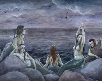 Five - mermaid art print