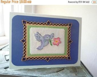 Blue Bird, Hand Stitched Greeting Card