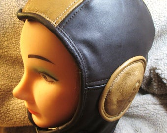 Retro Aviator Hat in Brown/ Saffron Leather, Soft Leather Flight Cap Steampunk