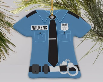 Personalized Police Uniform Ornament, police, cops, Christmas, personalized, custom, uniform, blue, ornament,  -gfyU797363