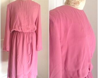 Achtziger Jahre rosa Tulpe Saum Vintage Kleid / / extra groß, plus Größe 16 18 xl 1 X altrosa passen und Streulicht