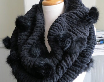 Faux Fur Pompom Cowl--Raven Black