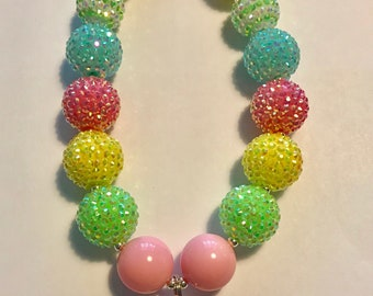 Pastel Rainbow Princess Girls Necklace, Toddler Jewelry, Rainbow Easter Spring Accessory, Sparkle Crown