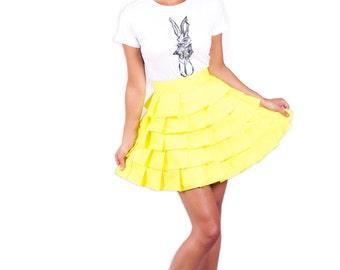 Wonderland layered 'Alice Ruffle Skirt' - Yellow
