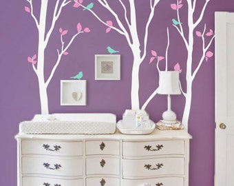 """Baby Nursery Wall Decals White Birch Trees Sticker Tree Wall Mural Wall Art decor - Large: approx 92"""" x 81"""" - KC003"""