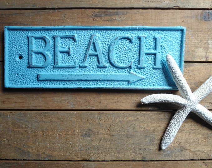 Beach sign, beach house, outdoor cast iron plaque nautical decor coastal living painted and distressed outdoor shower