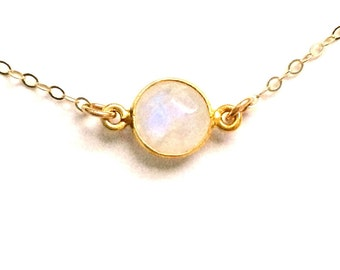 Moonstone Necklace, Moonstone Choker, Layering Moonstone Delicate Necklace in Gold Filled, Other Lengths Available