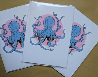 Gift Cards 3 PER PACK Pink Cute Little Octopus