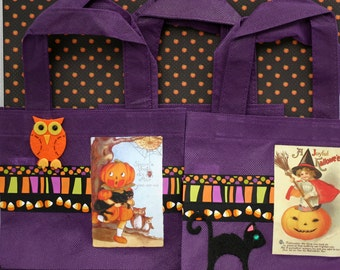 Halloween Gift Bags Fabric Favor Bags Purple Tote Bags