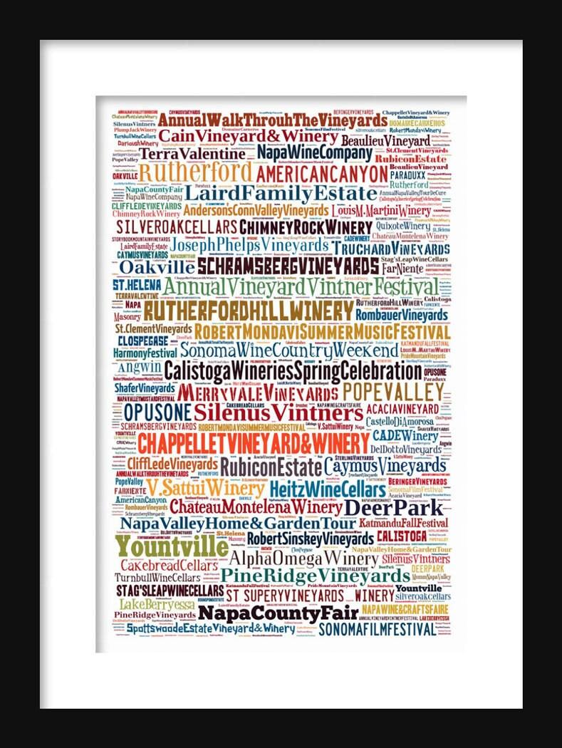 Napa Valley Map Typography Neighborhoods of Print