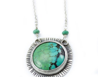 Turquoise Burst Necklace - tribal textured one of a kind turquoise necklace round boho pendant