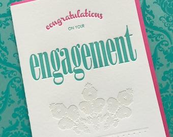 Letterpress Card - Congratulations Engagement
