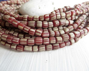 small brown red   striped seed beads, opaque  matte , spacer bead, barrel tube, New  Indo-pacific 3 to 6mm / 10 in strd, 6A13-5